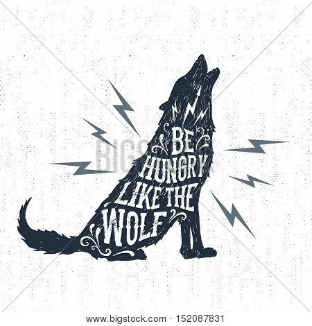 Hand drawn Halloween label with textured wolf vector illustration and