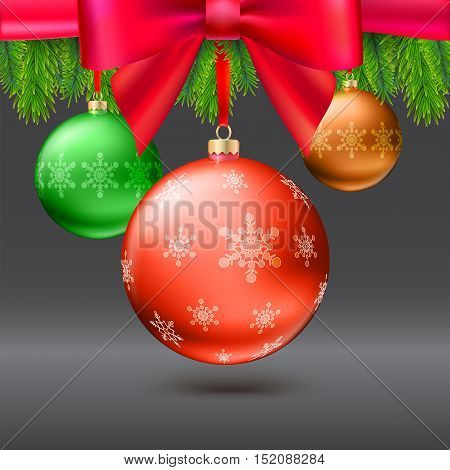 Gold Christmas balls with green fir branches and bow on dark background. Realistic vector bright balls, red ribbon and bow, editable eps 10