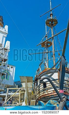 MOSCOW RUSSIA - MAY 10 2015: The replica of the wooden ship in center of Izmailovsky souvenir market on May 10 in Moscow.
