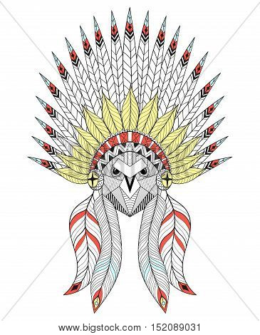 Vector zentangle Owl with War Bonnet. American native headdress with color feathers for adult coloring pages, ethnic patterned t-shirt print, tattoo design. Boho chic style. Doodle Illustration.