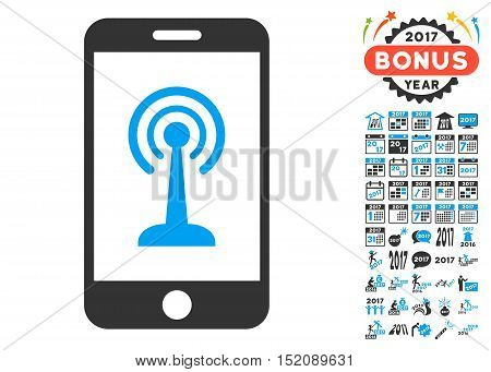 Radio Control Smartphone icon with bonus 2017 new year graphic icons. Vector illustration style is flat iconic symbols, blue and gray colors, white background.