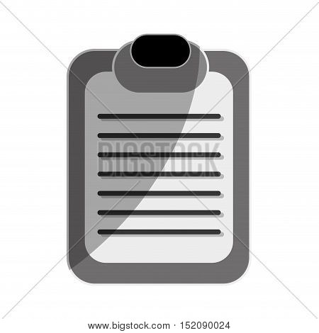 report table with paper sheet over white background. vector illustration