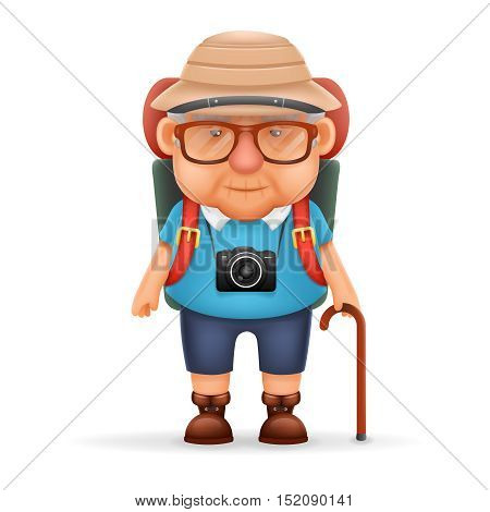 Old Backpacker Man Grandfather Photo Camera Travel Realistic Cartoon Character Design Isolated Vector Illustration