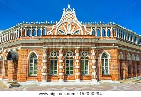 The facade of the First Cavalry Building of Tsaritsino with the patterned floor in front of it Moscow Russia.