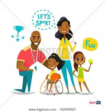 Sports family portrait. Handicapped Kid in wheelchairs playing ball and have fun with their family. Coaching handicapped young sportsmen's. Medical rehabilitation. Vector Illustration