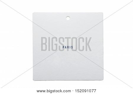 White carton label lettered Paris isolated over white