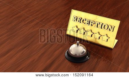 Chrome service bell and golden reception plate on wooden countertop with copyspace , Hotel , 3d illustration
