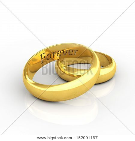 Golden wedding rings on white background engraved Forever , 3d illustration