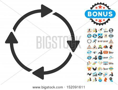 Rotation pictograph with bonus 2017 new year pictograph collection. Vector illustration style is flat iconic symbols, blue and gray colors, white background.