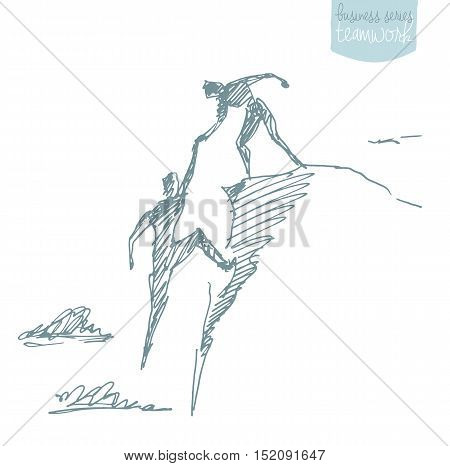 Hand drawn vector illustration of a man helping another man to climb sketch. Teamwork partnership concept. Vector illustration sketch