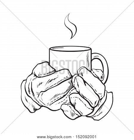 well groomed female hand holding a cup with tea or coffee, sketch style vector illustration isolated on white background. Realistic drawing of beautiful hand holding a mug with a hot beverage