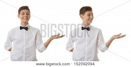 Set of cute teenager boy in white shirt and black bow tie holding something on palm over white isolated background, half body
