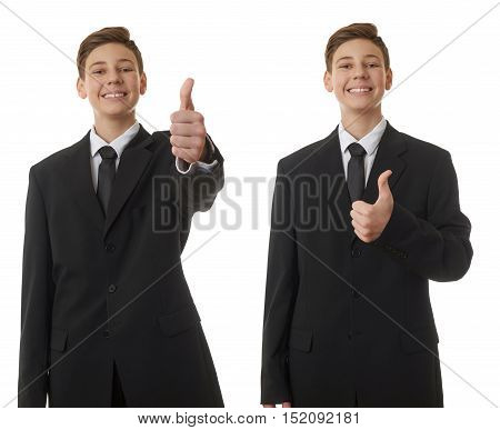Set of cute teenager boy in back business suit showing thumb up sign over white isolated background, half body, future career concept