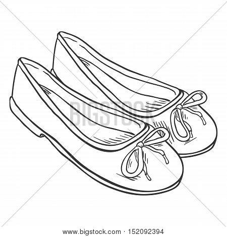 Vector Sketch Illustration - Pair Of Women Ballet Flats
