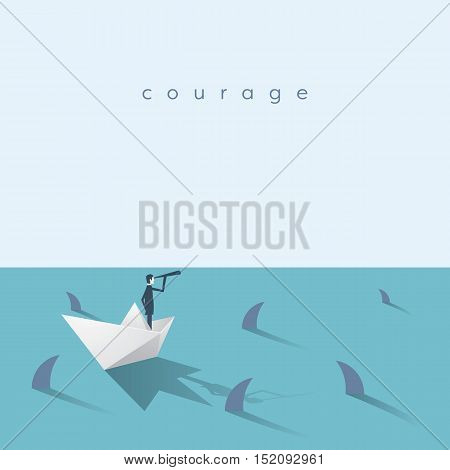 Businessman on a paper boat vector business concept with dangerous sharks swimming around in the ocean. Eps10 vector illustration