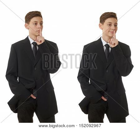Set of cute teenager boy in back business suit with finger over mouth over white isolated background, half body, future career concept