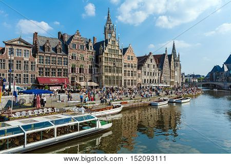 Ghent, Belgium - April 6, 2008: Tour Boats And Graslei Street