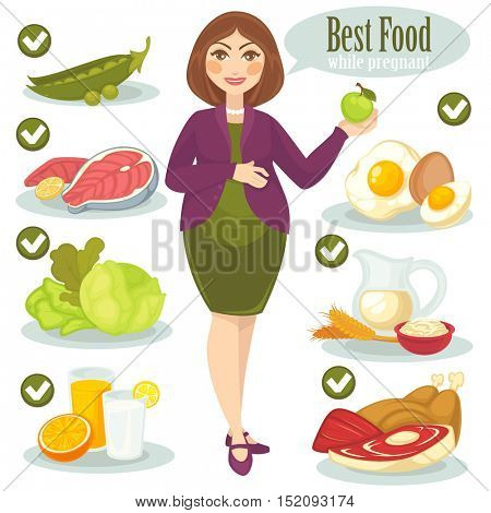 Vector set with woman and health food for pregnant. Pregnancy diet for healthy baby and mother. Cartoon nutrition illustration: meat and vegetable, milk and egg, fruits and fish. Infographic elements.