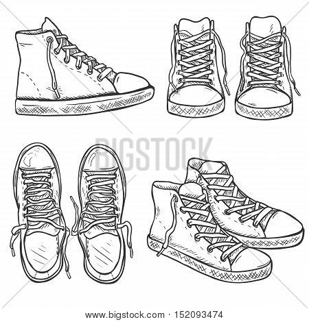 Vector Set Of Sketch High Gumshoes. Side, Top And Front Views.
