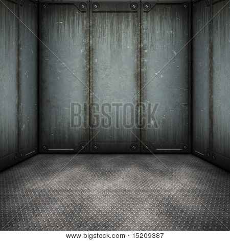 An image of a dark steel room background