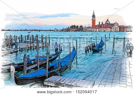 Venice. Italy. Quay Piazza San Marco. Gondolas on the water & Island of San Giorgio Maggiore. Color illustration