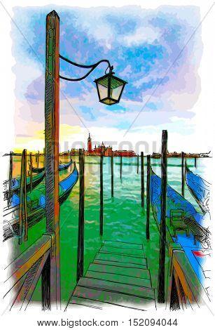 Venice. Quay Piazza San Marco. Gondolas on the water. & the view of the island of San Giorgio Maggiore. Color drawing