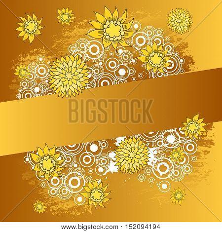 Beautiful color floral design card. Vector illustration