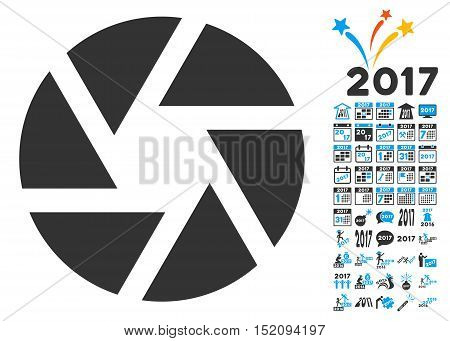 Shutter pictograph with bonus 2017 new year graphic icons. Vector illustration style is flat iconic symbols, blue and gray colors, white background.