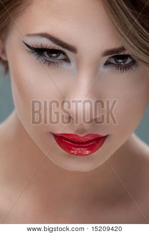 Beauty, Closeup Portrait Of Young, Blonde Woman, With A Retro Look Makeup
