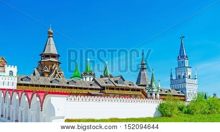 Discover the cultural complex of Izmailovsky Kremlin with various museums craft centers souvenir stores workshops and largest woden church in Russia Moscow.