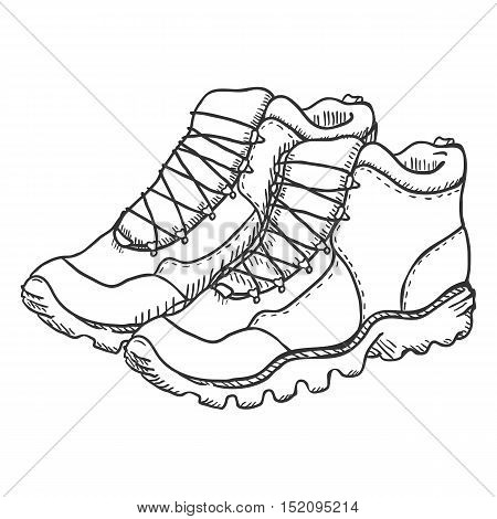 Vector Sketch Illustration - Extreme Hiking Boots