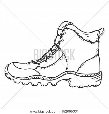 Vector Sketch Illustration - Extreme Hiking Boots. Side View