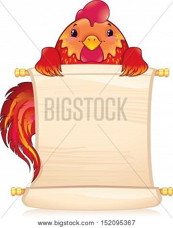 The red fire rooster is a symbol of the approaching new 2017 year. Symbol of Chinese horoscope. Illustration with a copyspace. Created in Adobe Illustrator. Image contains gradients transparency blending modes. EPS 10