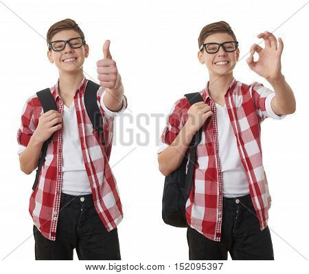 Set of cute teenager boy in red checkered shirt and glasses with school bag, gesturing thumb up over white isolated background, half body, as school, education concept