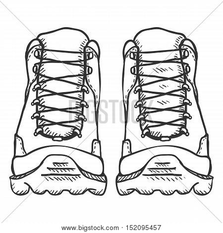 Vector Sketch Illustration - Extreme Hiking Boots. Front View