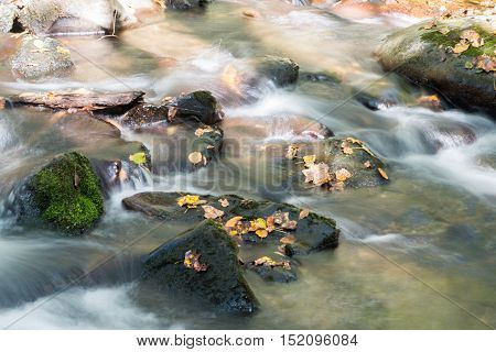 Flowing water in creek outside of Cherokee North Carolina