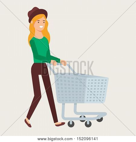 Vector illustration of a woman with an empty shopping cart