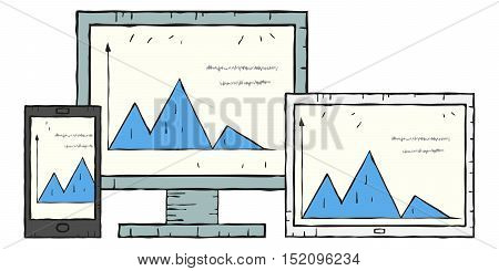 Image painted irregular lines. The same graph on computer screen, smartphone, tablet. Vector illustration.