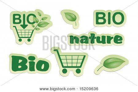 Um conjunto de natureza verde bio ícones de compras