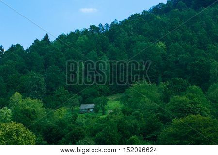 little wooden house of hermit at mountains among green forest almost invisible far from civilization