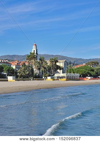 Beach and Village of Diano Marina at italian Riviera,Liguria,mediterranean Sea,Italy
