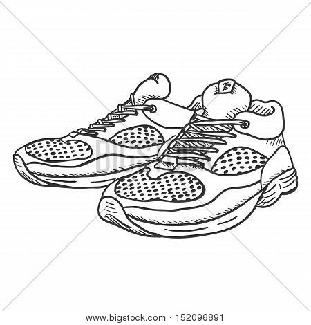 Vector Sketch Illustration - Pair Of Running Shoes