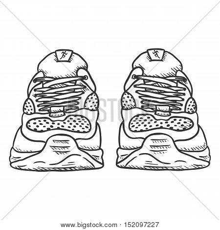 Vector Sketch Illustration - Pair Of Running Shoes. Front View