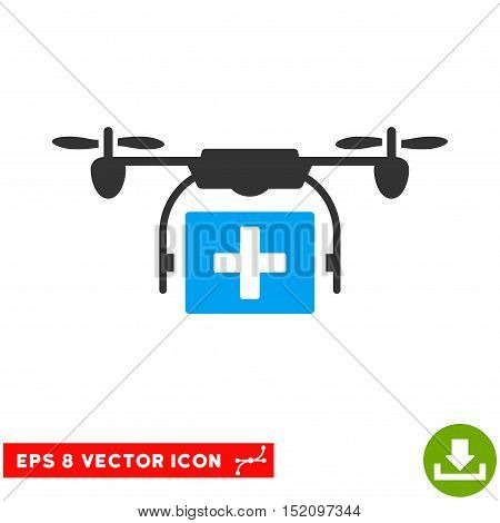 Ambulance Drone EPS vector pictograph. Illustration style is flat iconic bicolor blue and gray symbol on white background.