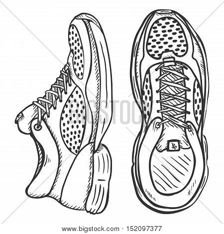 Vector Sketch Illustration - Pair Of Running Shoes. Top And Side View