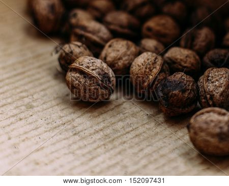 close up of natural freshly harvested walnuts