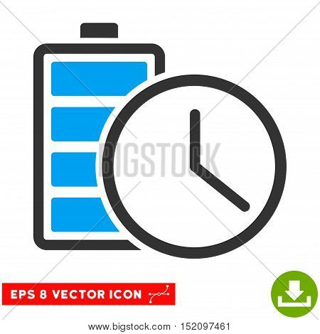 Battery Time EPS vector pictogram. Illustration style is flat iconic bicolor blue and gray symbol on white background.