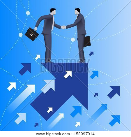Mutual benefit business concept. Two businessmen shaking each other hands standing on top of arrow flying up. Concept of deal benefit common ground contract agreement. Vector illustration.