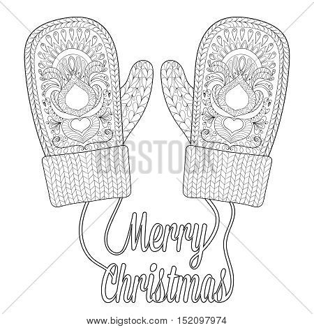 Warm knitted mittens in zentangle style with wishes Merry Christmas. Hand drawn happy Xmas decorative elements for adult coloring book. Vector illustration for New Year 2017 greeting cards, posters.