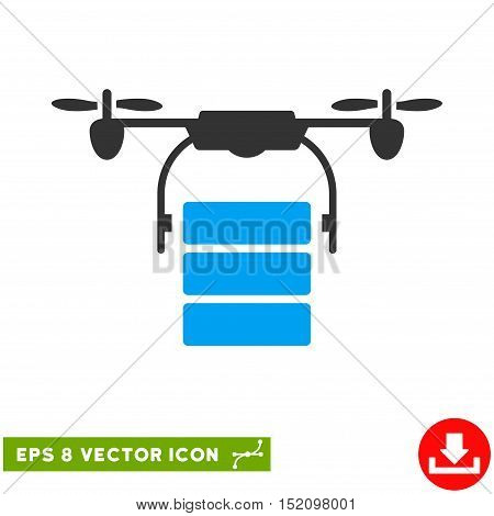 Cargo Drone EPS vector pictogram. Illustration style is flat iconic bicolor blue and gray symbol on white background.